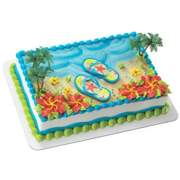 Flip Flop Cake - could do this with a volcano instead of flip flops . . .