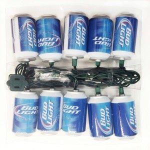 10-Lights Budweiser Bud Light Beer Can With New Logo Light Set - JafGifts.com