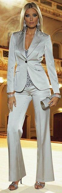 2015 por encargo Sexy Slim Fit trajes de plata office Lady visita OL trajes traje de dos piezas