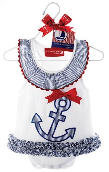 Gorgeous little anchor baby onesie with a pretty red ribbon. Blue and white ruffles to complete our little ladies sailor look. Ahoy matey!  www.lexiandlily.com