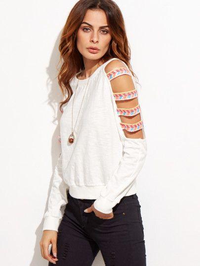 Sweat-shirt manche découpée avec broderie - blanc
