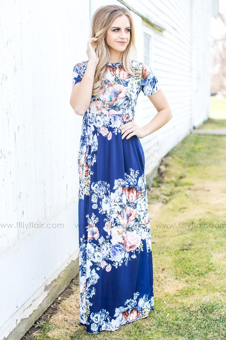 The Journey Floral Maxi Dress in Navy