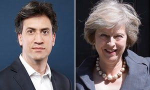 Ed Miliband and Theresa May - May is stealing Ed Miliband's clothes – but no one's shouting 'Red Theresa'