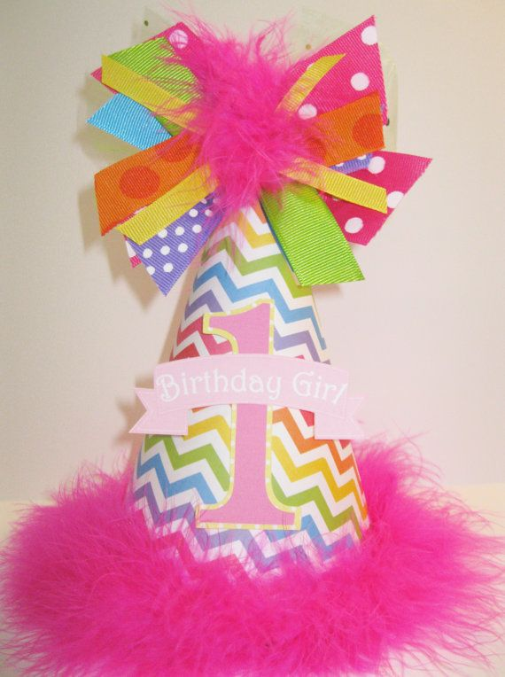 Personalized Boutique Rainbow Chevron First Birthday Party Hat via Etsy
