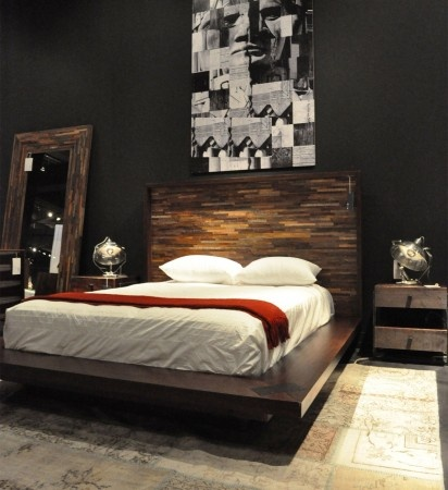 This wooden bed frame would go great in a hip- modern looking bedroom, but the bedroom should have enough soft colors so it doesn't clash; The bed frame really draws you eye to it as a focal point for a soft modern look