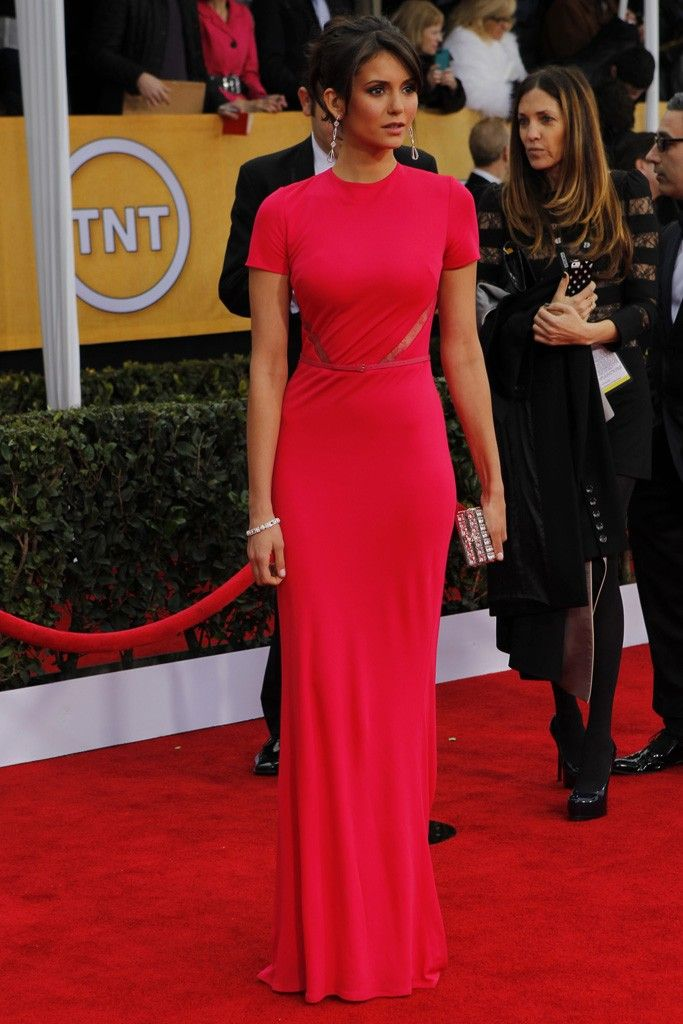 Nina Dobrev in Elie Saab on the SAG Awards Red Carpet (Photo by Donato Sardella)