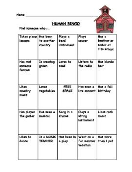 Human Bingo Icebreaker- great for the first day of music- free!