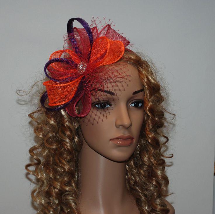 Hot pink orange purple fascinator for weddings by MargeIilane