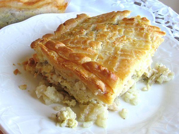 This recipe for Russian chicken pie or kurnik is made with chicken, rice, hard-cooked eggs, mushrooms and a flaky crust.