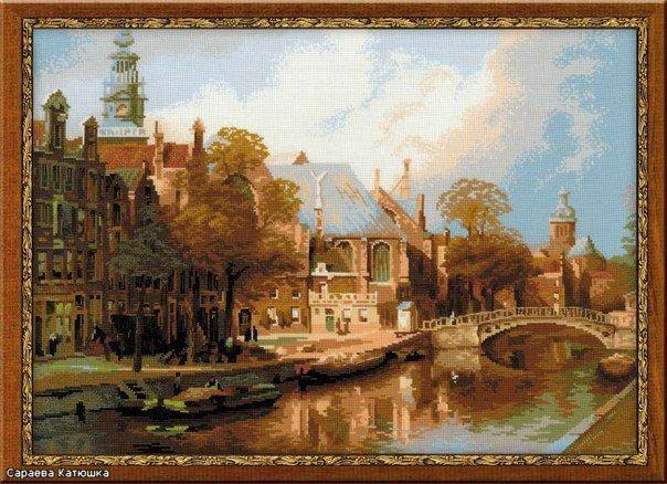 """Вышивка  """"Старые церкви Амстердама"""""""