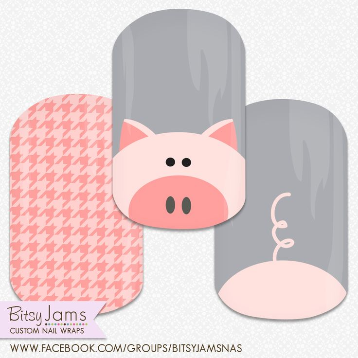 Pig nails!! Custom nail design by BitsyJams - Join our facebook group for all our custom NAS Jamberry designs. #nailart #nails #pignails