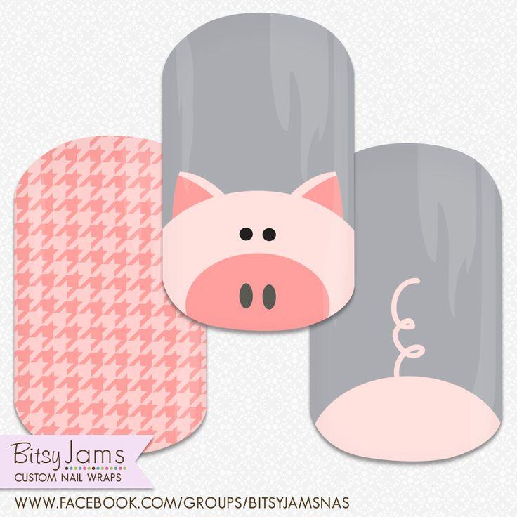 Pig nails!! Custom nail design by BitsyJams  #nailart #nails #pignails