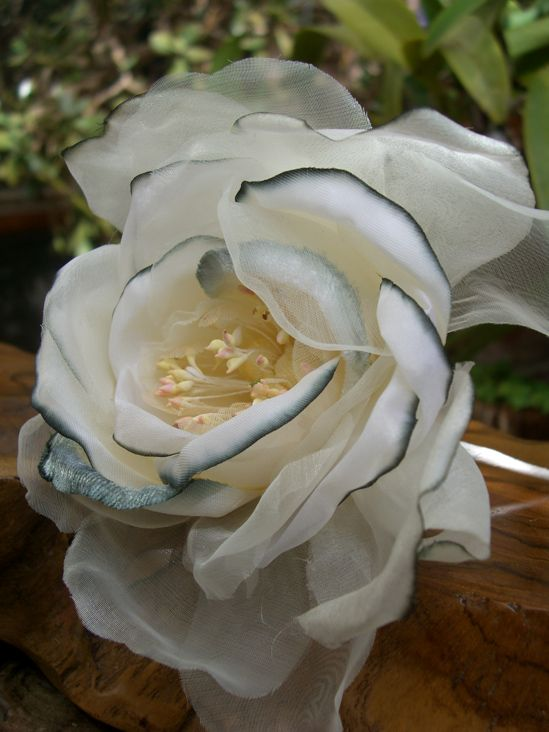 White Silk & Organdy Rose with Silver 5in