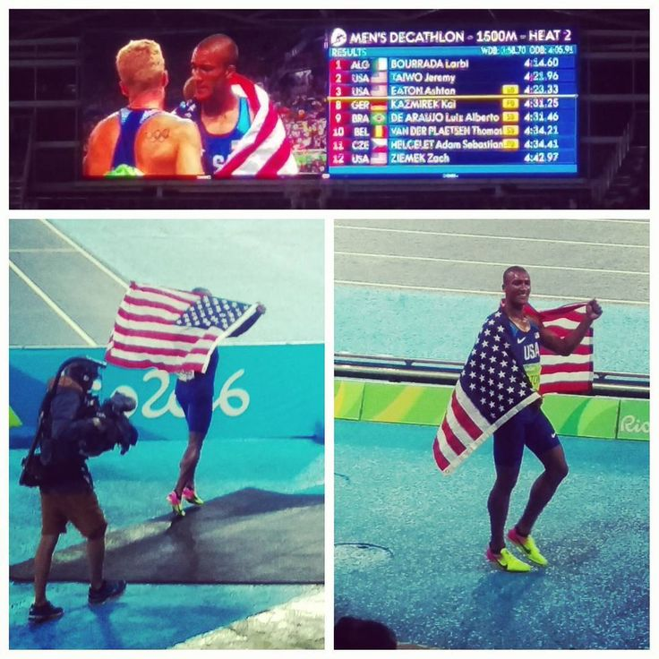 #AshtonEaton winning his second gold medal in the men's decathlon and defending his title. It was amazing to watch 8 out of the 10 #decathlon events and see an #american retain the title of #worldsgreatestathlete. #USA #rio #brazil #riodejaneiro #Rio2016 #olympics #travel #explore #travelbug #wanderlust #brasil #merica #murica #america #redwhiteandblue