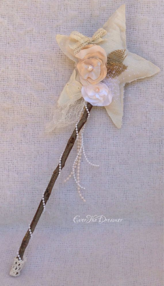 Woodland Fairy Wand vintage burlap calico star wand fairy party photography prop branch fairytale costume on Etsy, $54.90 AUD: