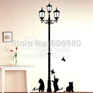 2-го поколения корейском стиле гостиной и читальный зал фон уличные и кошки деревенский наклейки на стену 833