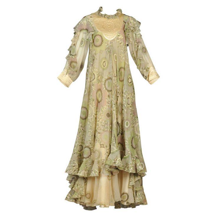 Ethereal 1970s Gina Fratini Silk Dress