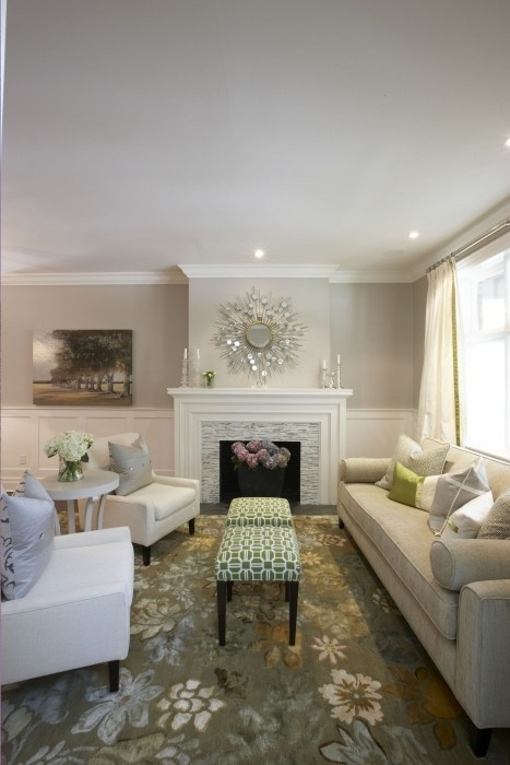 fireplace, stools, sofa, chairs, table