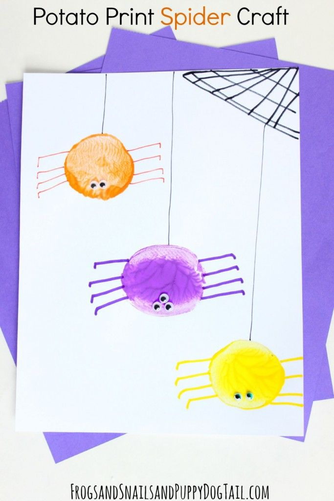 t shirts online Potato Print Spider Craft for kids