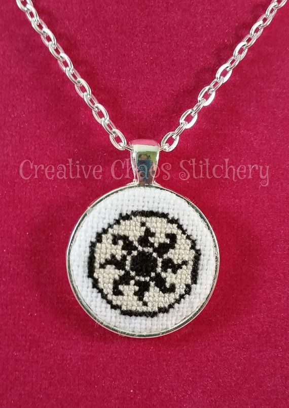 Cross Stitch Necklace  Card Game  Plains by chaoticstitchery