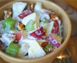 Waldorf Salad:  *I add a little cool whip, mini marshmallows, & cinnamon.  I also substitute candied walnuts for the plain nuts.   **Use only macintosh apples.
