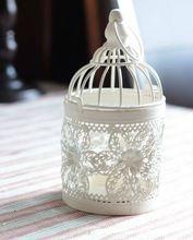 От белый винтажный цветок узор железо металл свеча фонарь свеча держатель свадьба домашнее украшение 8 * 8 * 15 см CHV02(China (Mainland))