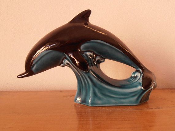 Poole pottery dolphin in the waves. Retro collectible