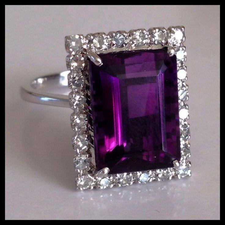 Retro Diamond Vivid Purple Amethyst 14K White Gold Vintage Ring