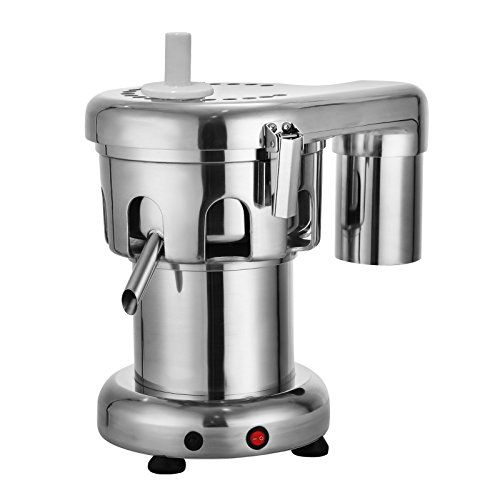 Rotate speed: 2800 RPM, production speed: up to 3 1/4 quarts per minute Commercial juice extractor is stainless steel construction for easy cleaning and corrosion prevention Commercial juicer has adjustable juice outlet (8 different positions) for conveni