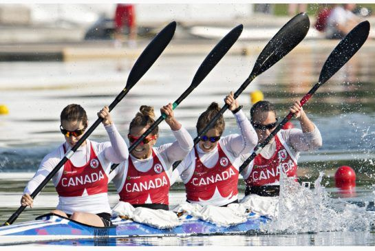 July 11 - Canoe/Kayak Sprint - K4 500m Kayak/Canoeing Flat.  Canada's women's K4 kayak team paddles in the 500m final in Welland, Ont.