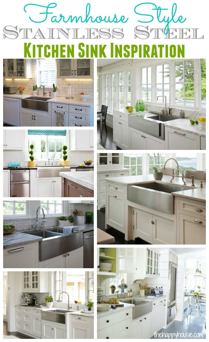 Farmhouse Style Stainless Steel Kitchen Sink Inspiration at thehappyhousie.com