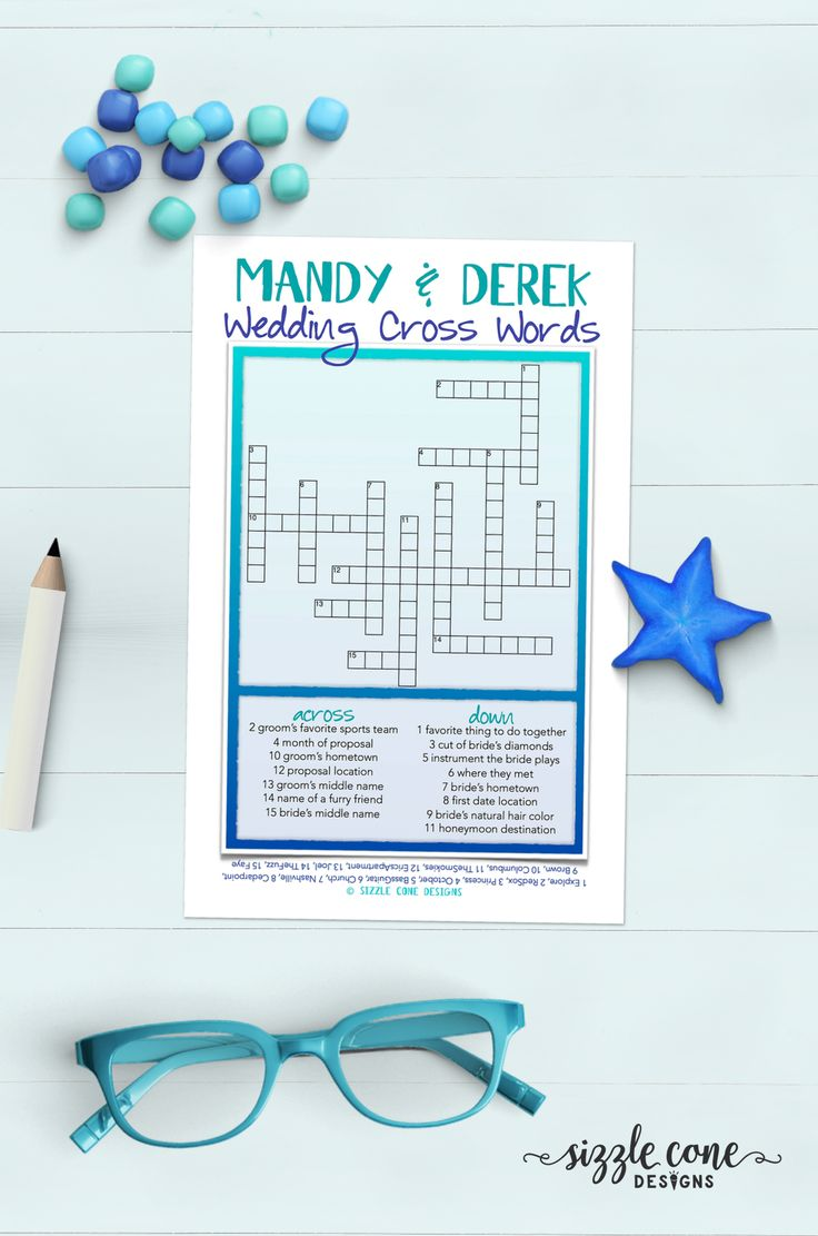 Pop Quiz! Custom crosswords are the perfect fun activity for receptions, rehearsal dinners, engagement parties, & wedding showers.