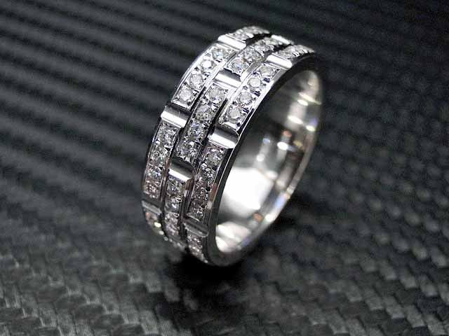 14k white gold mens diamond wedding band