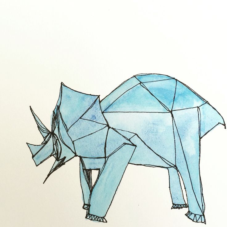 Rhino representing strength, resilience, survival! Drawn with a single line - we are all connected  #origami # quote