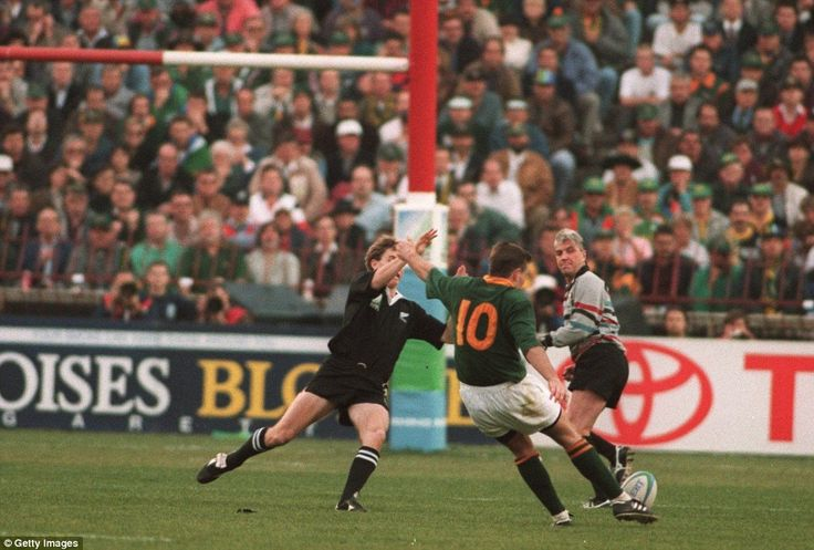 Joel Stransky hits the decisive drop-kick in extra-time to secure a historic World Cup triumph for South Africa in the 1995 final