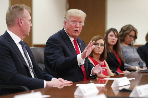 Trump Round Table.President Donald Trump Answers A Question On Immigration During A