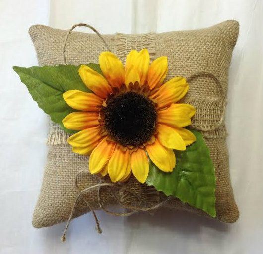 Personalized Burlap Ring Bearer Pillow Sunflower Rustic Wedding Shabby Garden Woodland, Sunflower Ring pillow, Custom ring pillow
