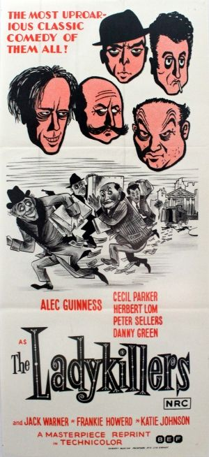 Ladykillers Alec Guinness, 1972 - original vintage movie poster for the Australian re-release of the 1955 comedy film, The Ladykillers, starring Alec Guinness, Peter Sellers, Herbert Lom, Danny Green and Cecil Parker, listed on AntikBar.co.uk