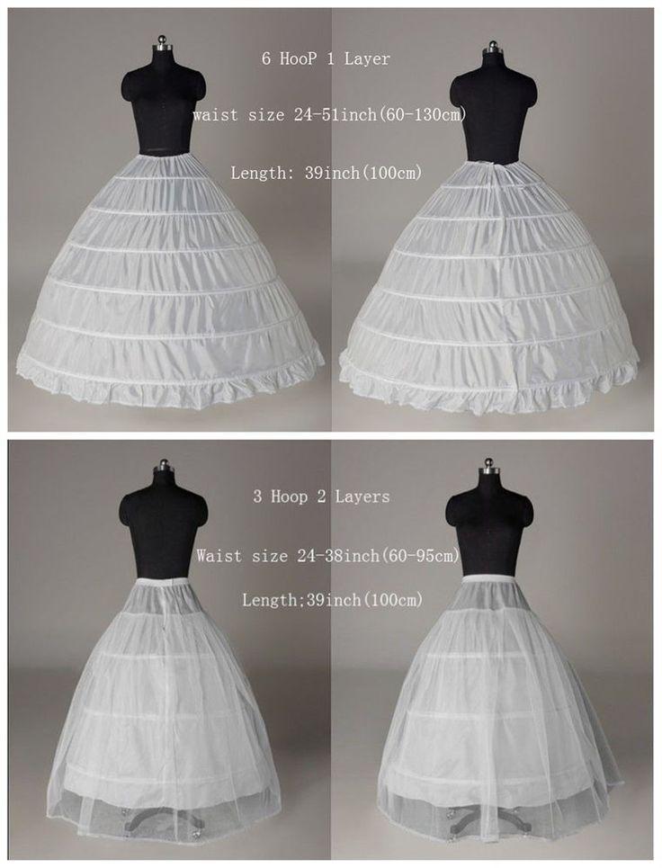 6-HOOP/ 3-HOOP New White Petticoat Wedding Gown Crinoline Petticoat Skirt Slip
