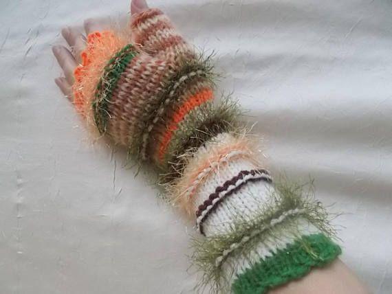 Knit Fingerless Gloves gift for her warm gloves knitted