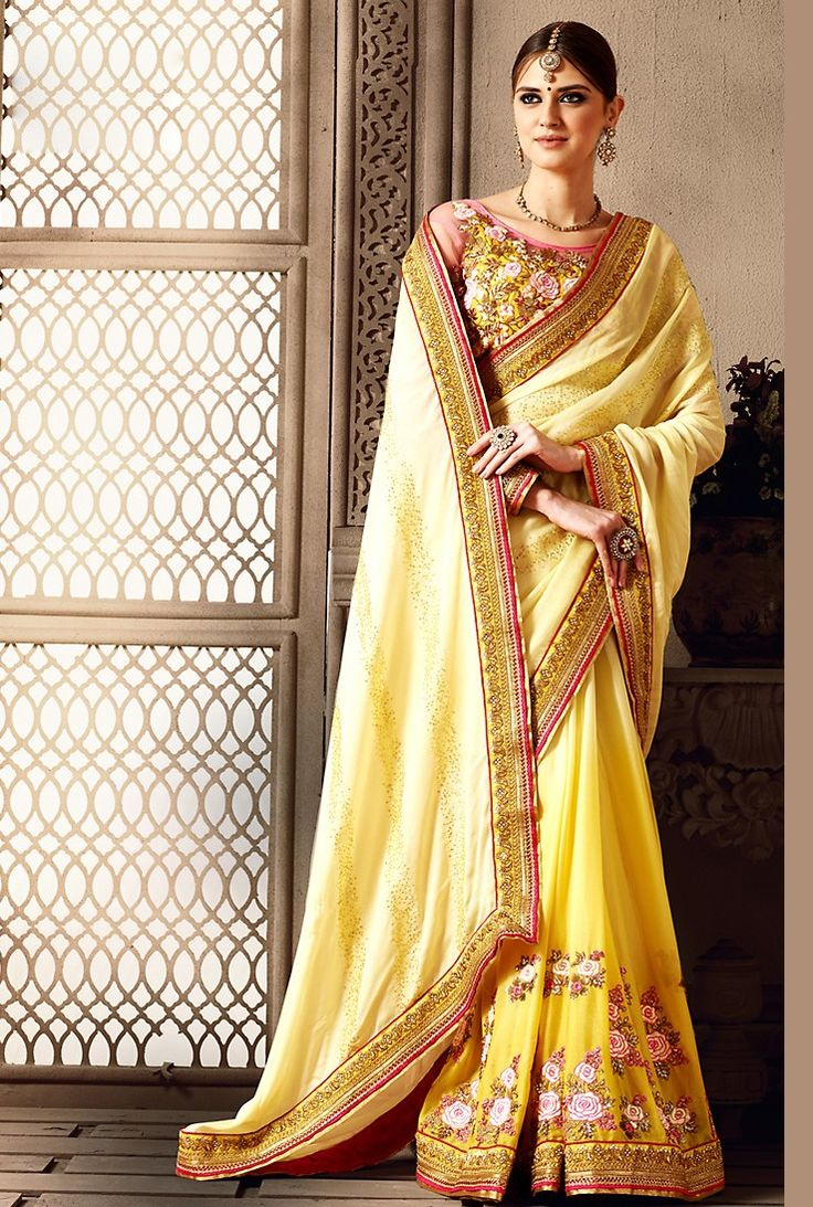 This Yellow Georgette Saree is accenting the stunning feeling. The ethnic…