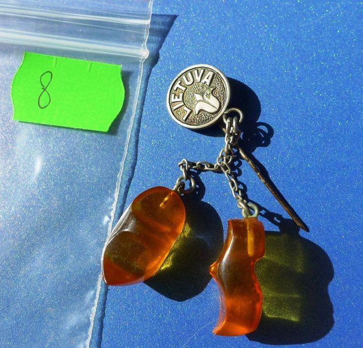 Vintage Lietuva honey Natural Baltic Amber Stone Bagde pin Pressed 4.4 Gr. #8