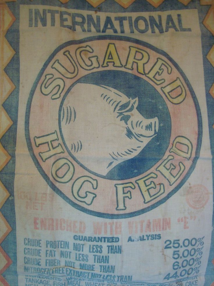 images of feed sacks | vintage SUGARED HOG FEED sack tote - Plain and Simple with a big ol ...
