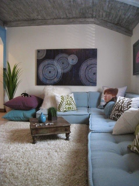 House of Turquoise: One Room Challenge - Week 1--Great idea for seating in a loft...