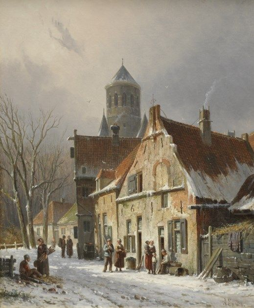Adrianus Eversen (Amsterdam 1818-1897 Delft) A village street in winter - Dutch Art Gallery Simonis and Buunk Ede, Netherlands.