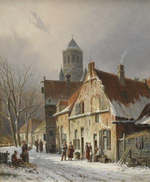 Adrianus Eversen - Dorpsstraat in de winter