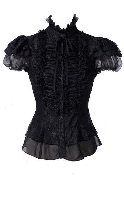 Gothic viktorianisch Chiffon Bluse Top Oberteil hochgeschlossen schwarz RQ-BL: Amazon.de: Bekleidung