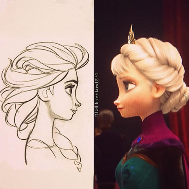 Look! I found a picture of Elsa resembling some concept art! Sorry about the lines, but I took it off my TV XD