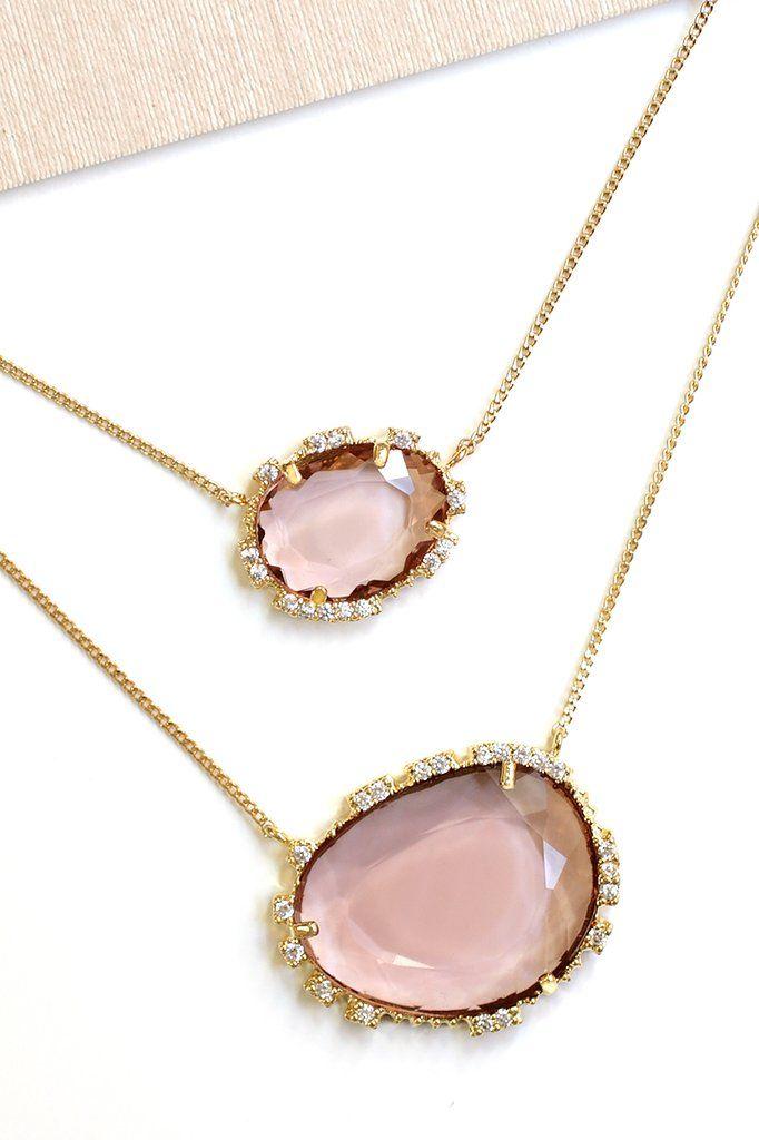 d5f92e37152468 Double Stone Pendant Necklace - Rose | Serefina Necklaces | Stone ...