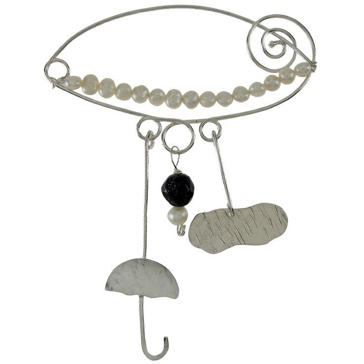 Emmanuela.gr - Χειροποίητα Κοσμήματα. Ασημένια δαχτυλίδια, σκουλαρίκια, βραχιόλια, μενταγιόν, κολιέ & καρφίτσες, γυναικεία, 2014 - Καρφίτσες :: Ασημένια Καρφίτσα Ομπρέλα - Σύννεφο